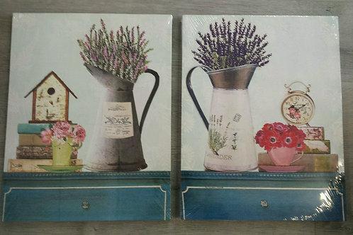 Lote de dos cuadros en lienzo florero lavanda