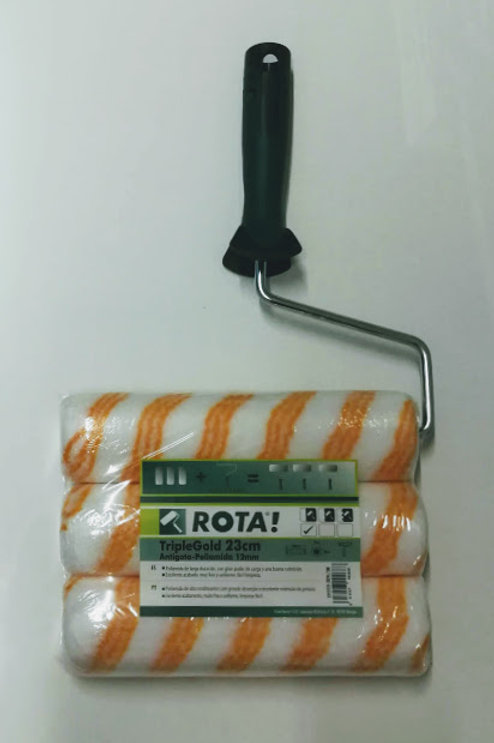 Rodillo TripleGold 23 cm Antigota-Poliamida de Rota! (Pack Rodillo+2 Recambios)