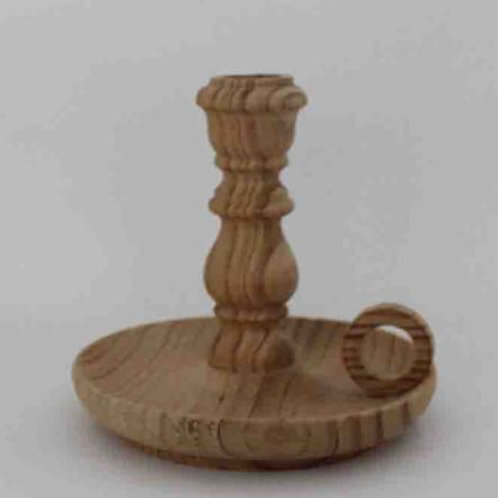 Palmatoria o portavelas de madera natural