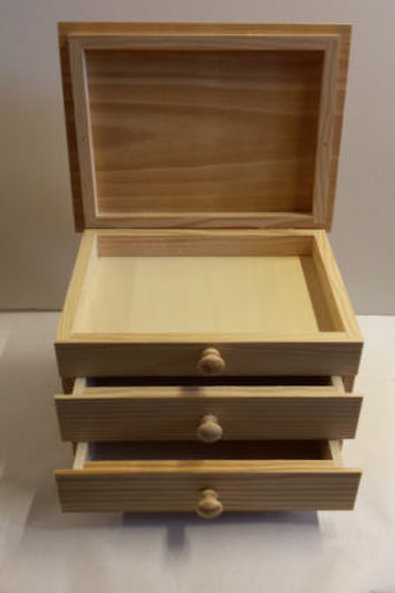 Caja de madera multiusos, joyero o costurero, con dos cajones y tapa
