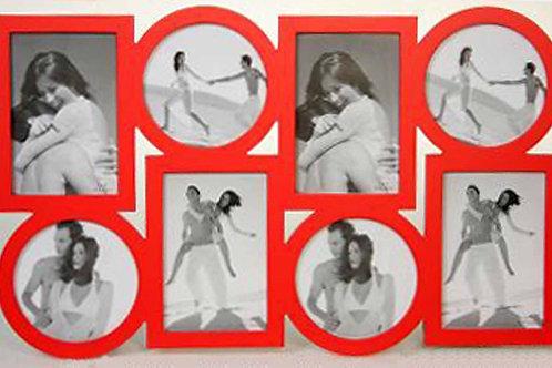 Portafoto o marco múltiple 8 fotos rojo