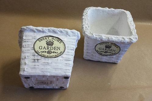 Maceteros cerámica blanco cuadrado, set de dos