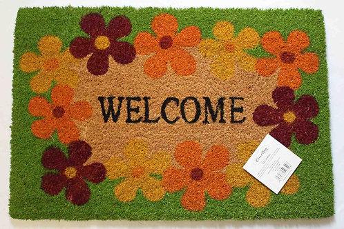 Felpudo coco, antideslizante, welcome y flores