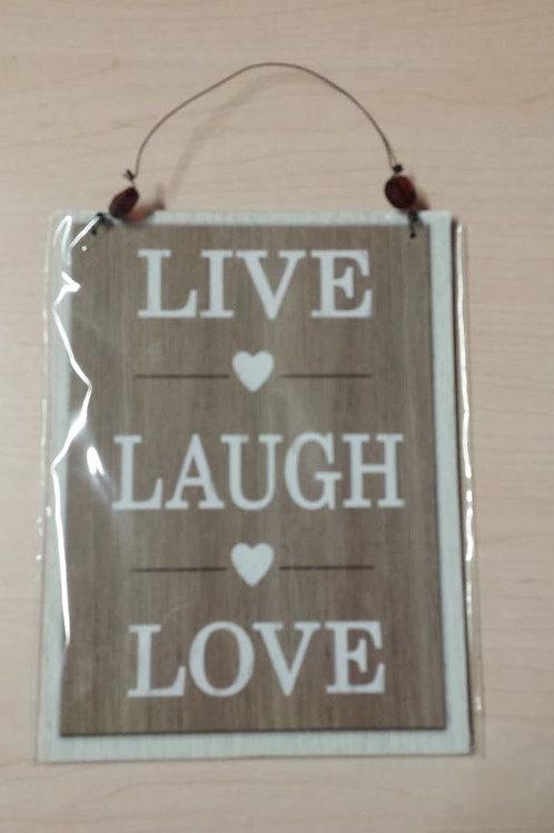 """Cuadro placa de madera """"Live, Laugh, Love """""""