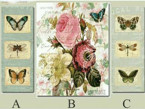 Cuadro triple en tela de lienzo triptico mariposas