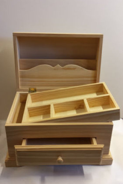 Caja de madera multiusos joyero o costurero