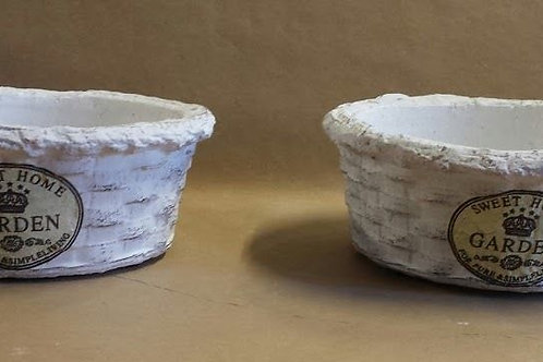 Macetero cerámica blanco redondo, set de dos