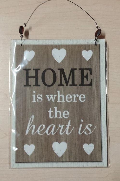 "Cuadro de madera colgador ""Home is where..."""