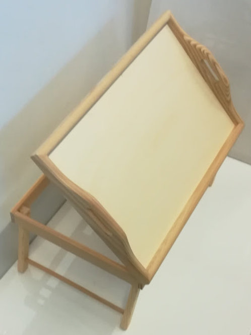 Bandeja cama atril en madera natural con patas plegable y dos posiciones