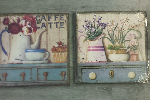Dos cuadros lienzo tocador flores jarrón 38x38 cm