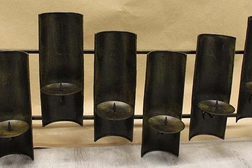 Portavelas de pared en hierro negro 8 velas