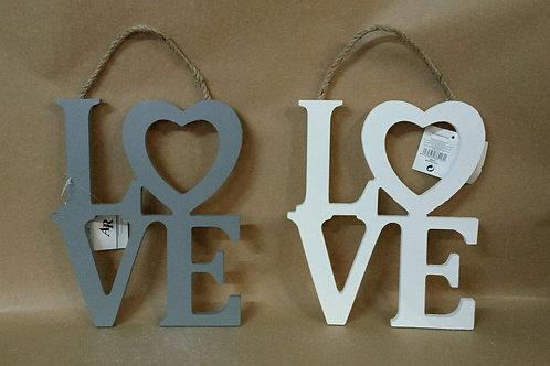 Letras de madera colgador love gris o blanco