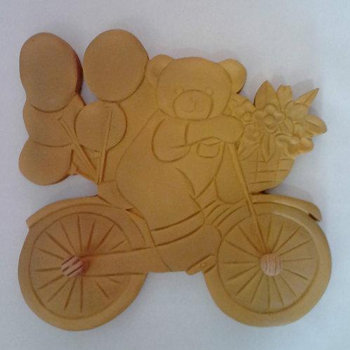 Perchero infantil Resina poliuretano Osito en bici