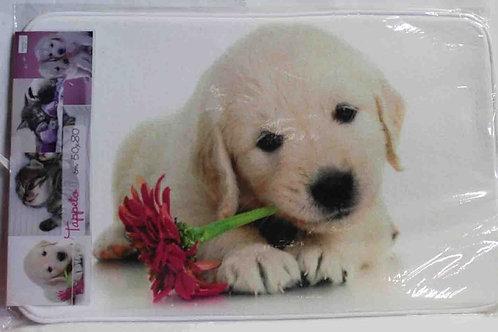 Alfombra baño perro con flor en la boca