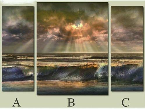 Cuadro tríptico en lienzo paisaje sol y mar