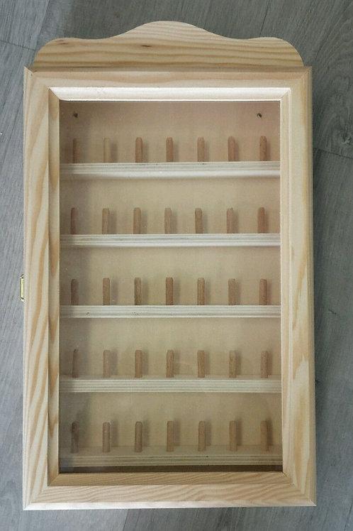 Vitrina de madera expositor dedales, 23 x 38 cm