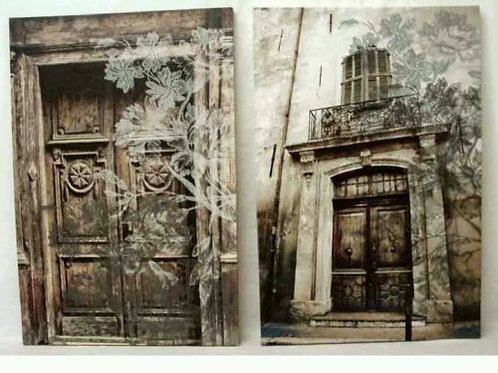 Lote de dos cuadros en tela de lienzo puertas
