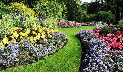 Plant beds, vegetable garden, green grass lawn