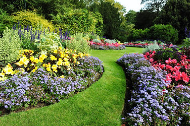 Carefully designed flower beds and borders