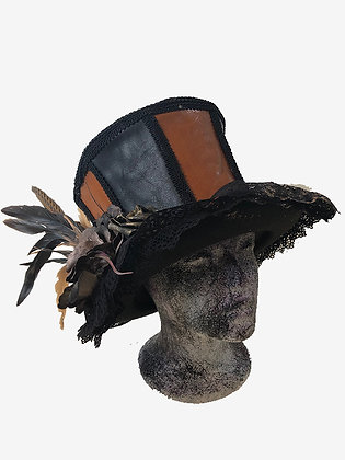Big Top Hat Light Brown and Black Leather Swirl