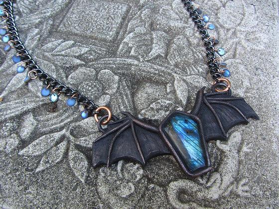 Bat Wing Labradorite Bauble Necklace