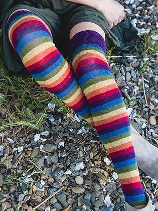 Iris Rainbow Stripe Over The Knee Socks