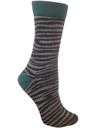 Sheena Zebra Striped Organic Cotton Crew Socks