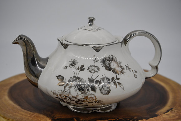 Vintage Ellgreave White and Silver Floral Teapot