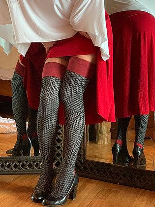 Ayizan Ebony Textured Organic Cotton Over the Knee