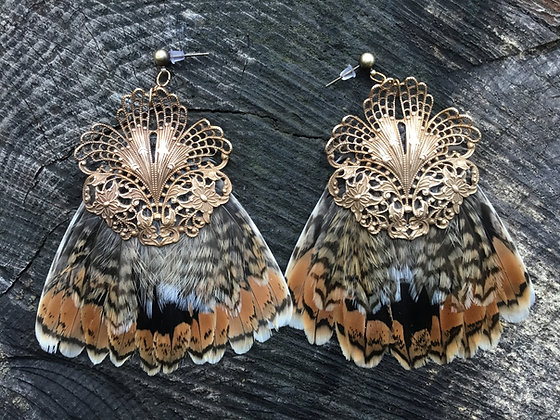 Snipe Tail Earwings with Vintage Brass Filigree