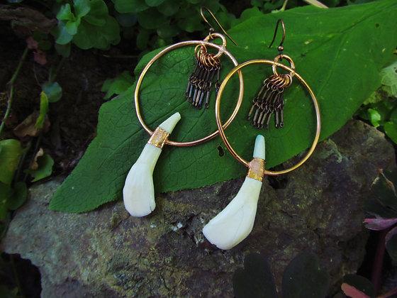 Cattle Teeth Goddess Hoop Earrings