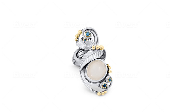 "Moonstone and Sapphire ""Missing Link Ring"""