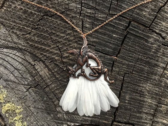 White Finch Tail and Winged Dragon Necklace