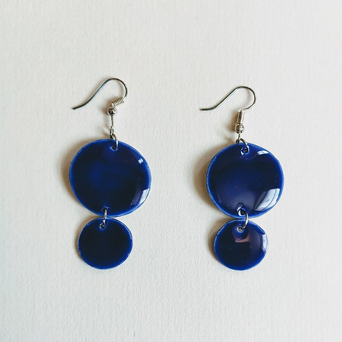 Cobalt double circle earrings