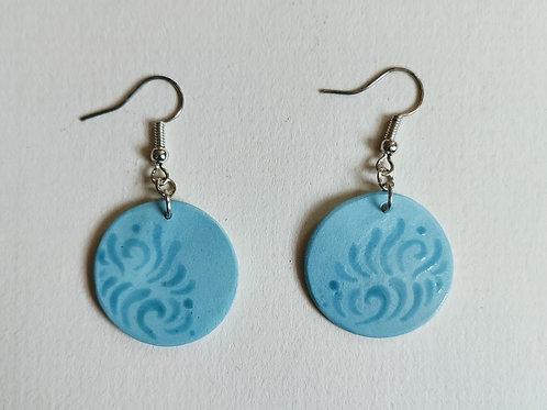 Jade-teal cricle earrings (M)