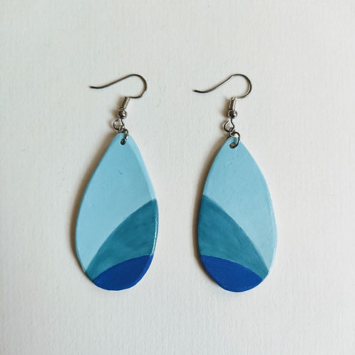 3-tone blue drop earrings (M)