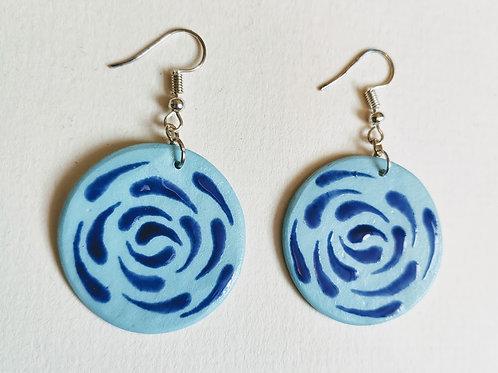 Jade-cobalt swirl earrings (L)