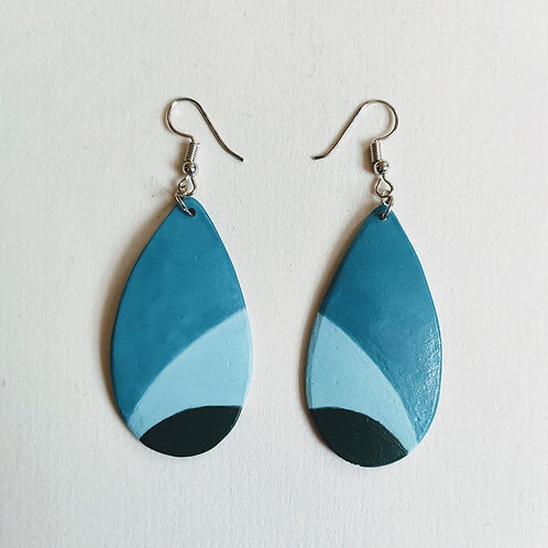 Blue-jade-green medium teardrop earrings