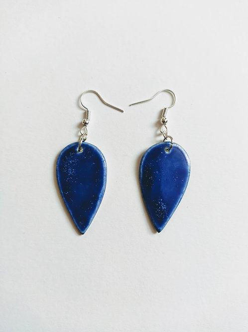 Denim effect earrings