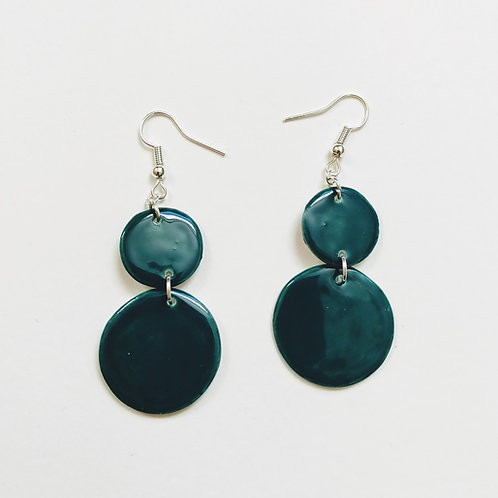 Hunter green double circle earrings