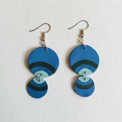 Blue-green rainbow double circle earrings