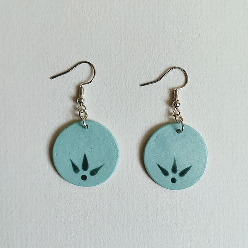 Shades of green circle earrings (M)