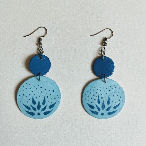 Teal jade double circle earrings (L)