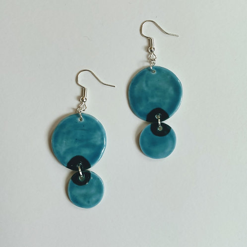 Teal and hunter green double circle earrings