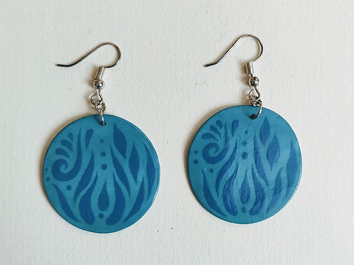 Turquoise teal circle earrings (L)