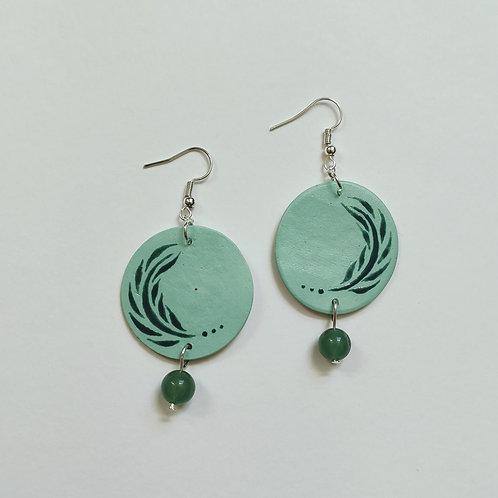 Fern and aventurine circle earrings (L)