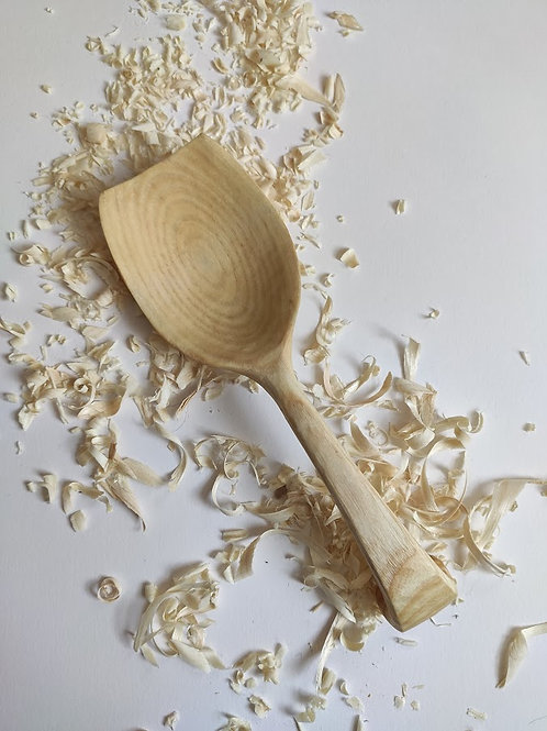 Curled-handle serving spoon