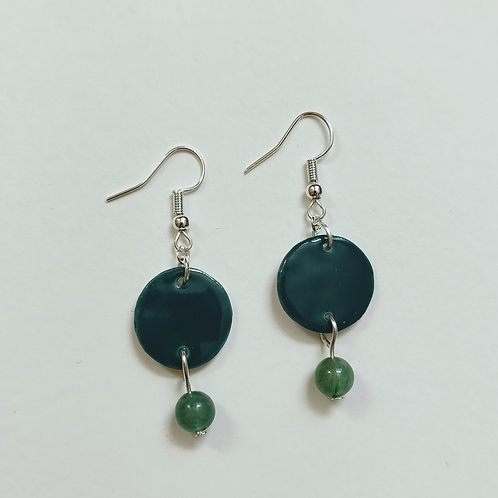 Hunter green circle and aventurine earrings