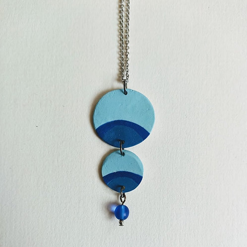 Beaded double circle necklace