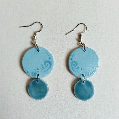 Jade-teal double circle earrings (M)